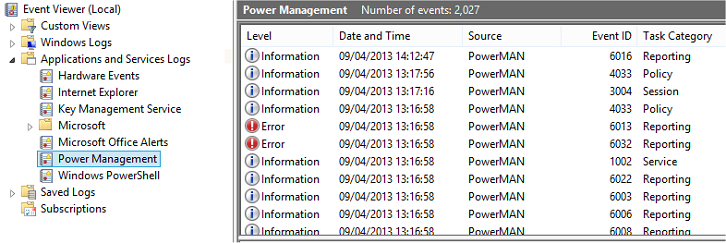 PowerMAN includes a unique power management event log feature